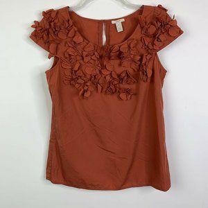 J.Crew Women Top Sz 4 Rust Cotton Papillion Blouse